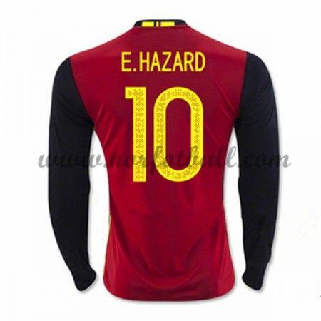 Belgia 2016 Landslagsdrakt E. Hazard 10 Langermet Hjemme Fotballdrakter