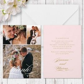 Blush Pink and Gold wedding photo thank you cards printed on luxury cardstock, double sided, by Peach Perfect Australia