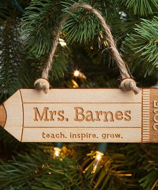 'Teach. Inspire. Grow.' Personalized Ornament