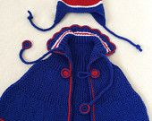 Baby Hat Baby Poncho in New York Rangers Colors, Gift Set