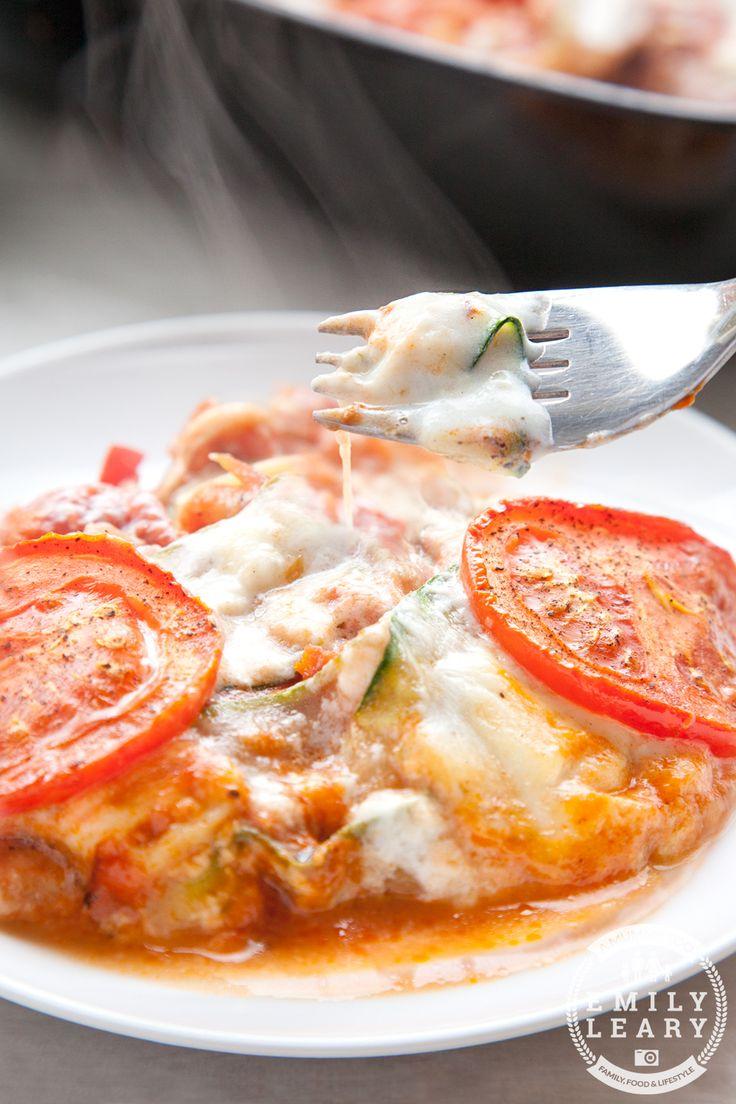 Tomato and courgette mozzarella bake