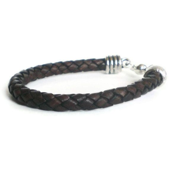 dark brown leather bracelet mens braided leather by jcudesigns, £12.00