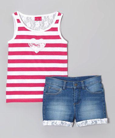 Look at this #zulilyfind! Pink Heart Stripe Lace Tank & Denim Shorts - Girls by Penny M #zulilyfinds