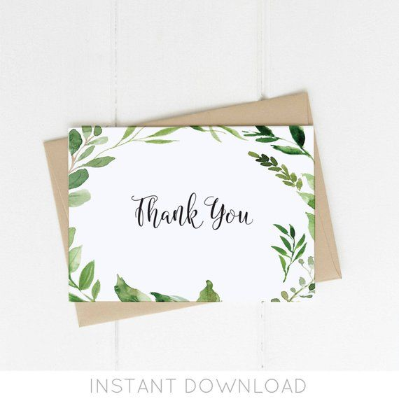 Greenery Thank You Card Printable Thank You Card Template Etsy Printable Thank You Cards Thank You Card Template Leaf Cards