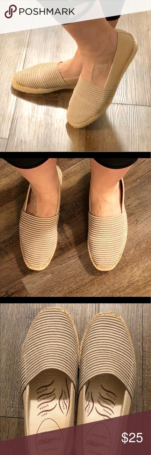 Easy Spirit comfort slip ons Perfect flawless condition 😍 they have memory foam like technology in them!! So so cute for spring summer heck even fall. They have a canvas look to them. Easy Spirit Shoes Flats & Loafers