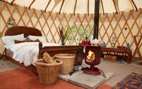 The inside of a yurt on Cuckoo Down Farm