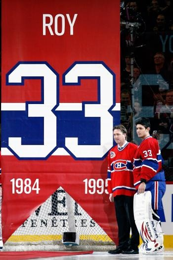Patrick Roy's Number 33 Retired in Montreal. Mad respect when Montreal did this for him: to the guy who walked off the ice one day swearing to never wear a Canadians jersey again