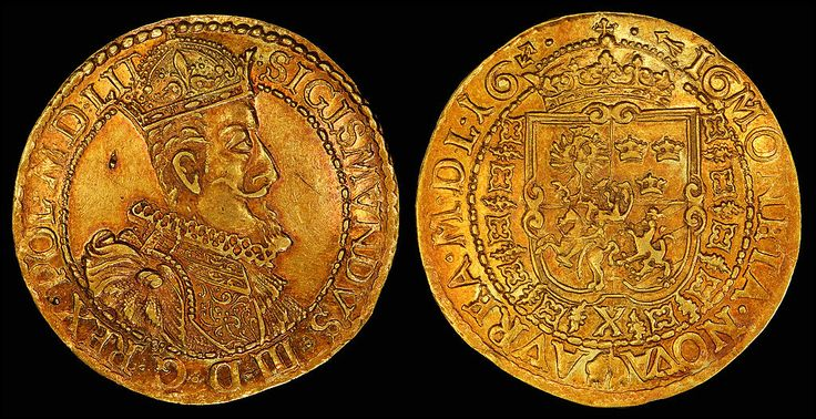 Sigismund III depicted on a 1616 Lithuanian 10 ducat[8]Coat of arms, Polish–Lithuanian Commonwealth, and privy mark of Hieronim Wołłowicz, Grand Treasurer of Lithuania[8] (reverse, see file notation).
