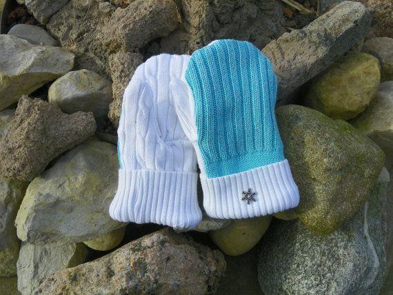 Kids recycled sweater mittens metallic mittens by KatesHandiwork