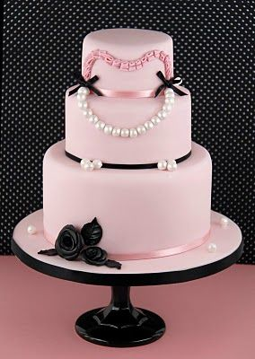 pink and black and pearls