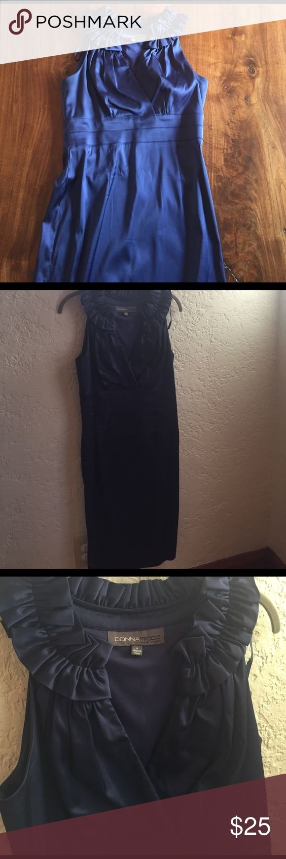 "Donna Ricco Formal Dress Worn once to a wedding. Like new. Beautiful blue, interesting neck design. 25"" drop from waist Donna Ricco Dresses"