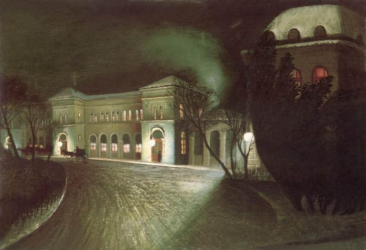 Tivador Kosztka Csontváry (Hungarian 1853–1919) [Post-Impressionism, Expressionism] The Eastern Railway Station at Night, 1902.