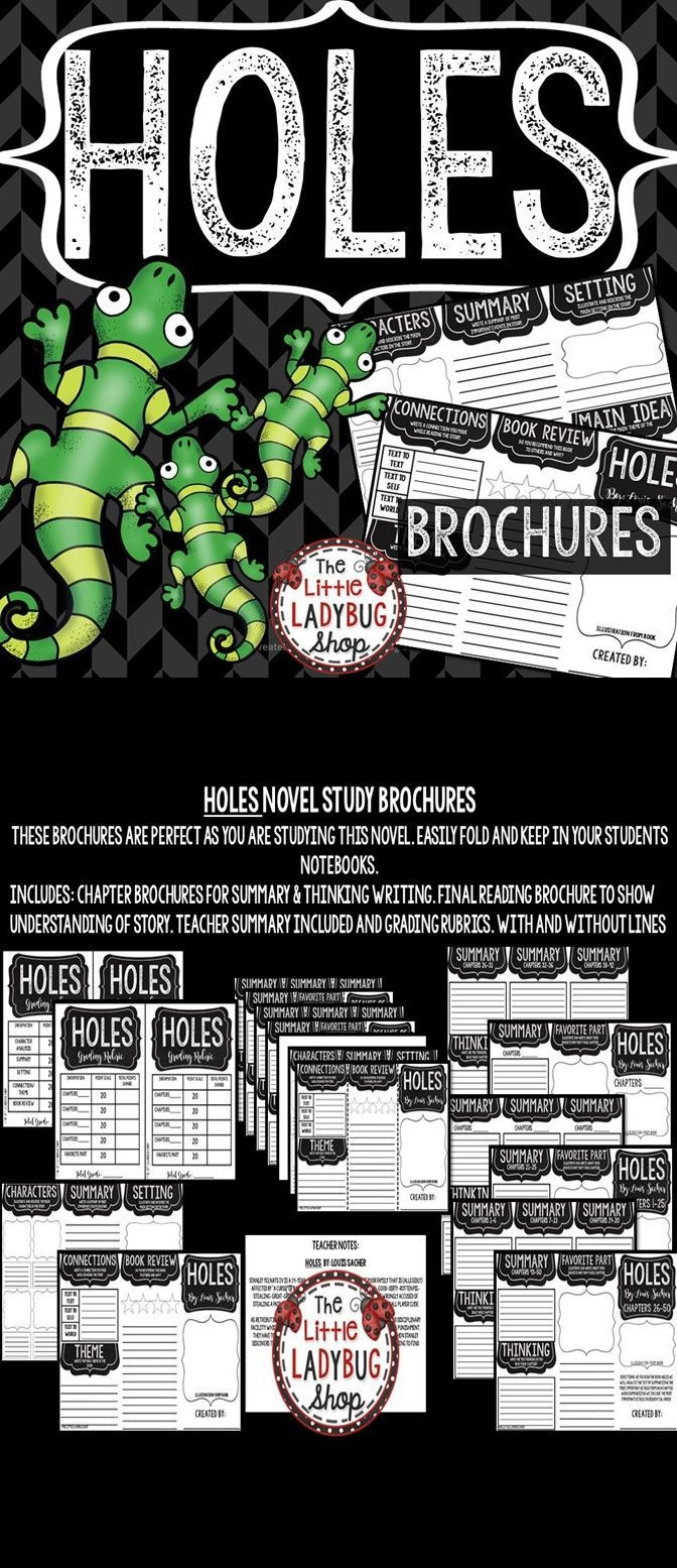 Holes by: Louis Sachar • Holes Novel Study Brochures is perfect for your students to use as reading this wonderful book and show accountability for their reading. This book companion is perfect to use as a Read Aloud Book Study, Book Club Study, Independent Reading Activity or more. Just print and Go and let your students show accountability for their reading!