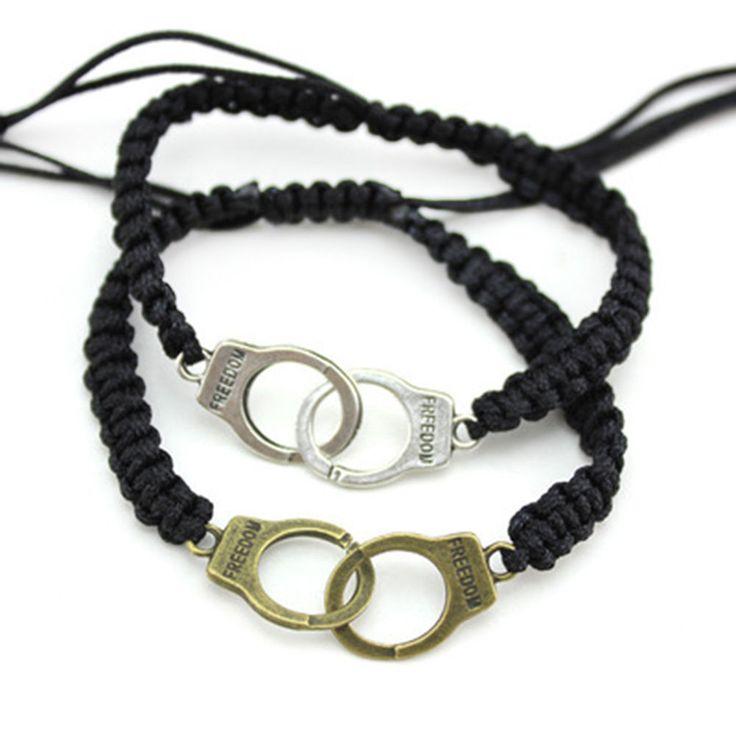 2pc Partners in Crime Freedom Handcuff Bracelet Set Braided Friendship Couple BF #Unbranded #BraidedCouplesBraceletSetFriendship