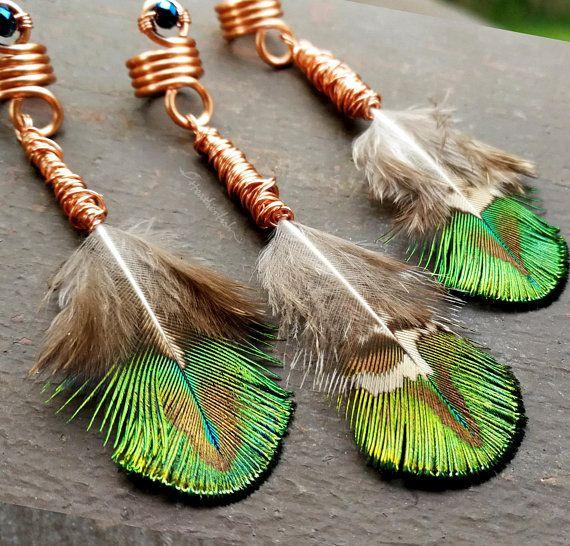 3 Crystal Feather Charm Dreadlock Spiral Sisterlocks Box Braid Spiral Coil Dread Bead Wrap Extension Chakra Crystal Loc Feather Charms