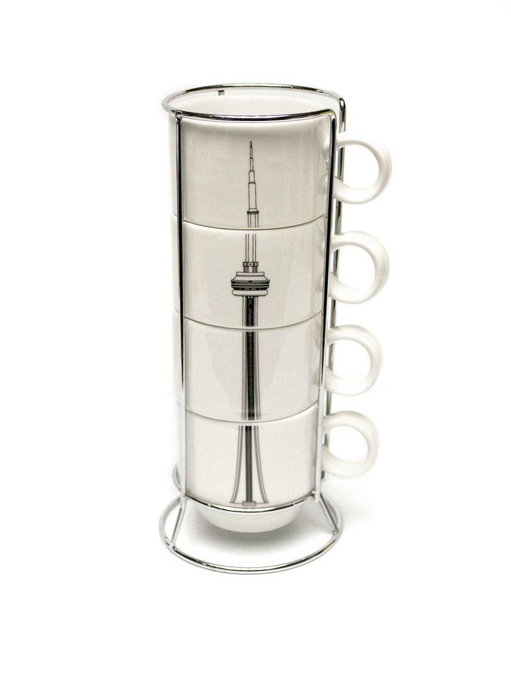 #1 - CN Tower Stackable mug set / Gobelets empilables de la Tour CN  ~ For the full list of the CN Tower's TOP 10 Stocking Stuffers for 2014, visit http://www.cntower.ca / Pour la liste complète des 10 MEILLEURS cadeaux de bas de Noël 2014 de la Tour CN visitez http://www.cntower.ca