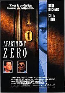 (1988) ~ Hart Bochner, Colin Firth, Dora Bryan. Director: Martin Donovan. IMDB: 6.9 ___________________________ https://en.wikipedia.org/wiki/Apartment_Zero http://www.rottentomatoes.com/m/apartment_zero/  http://www.tcm.com/tcmdb/title/67516/Apartment-Zero/ http://www.allmovie.com/movie/apartment-zero-v2668