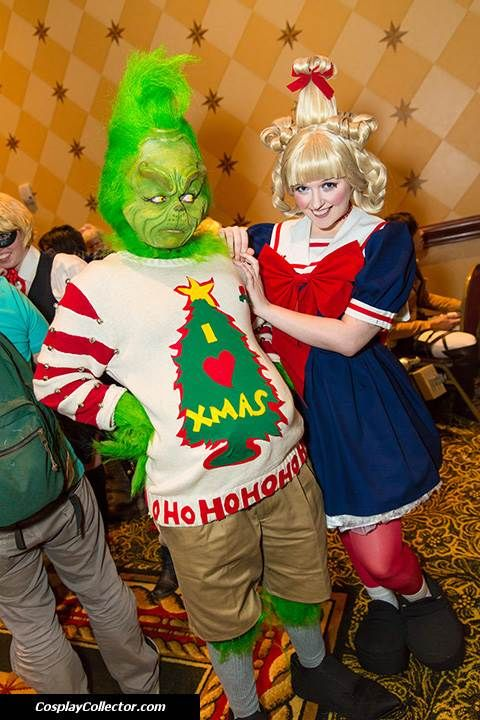 The Grinch and Cindy Lou Who.  This would be a great halloween costume for chase and I!