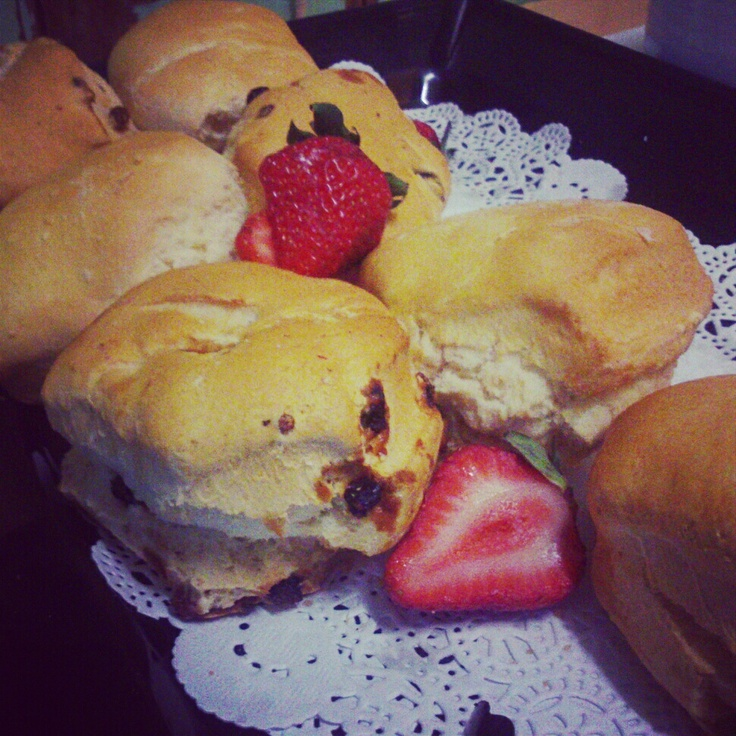 Fruit scones served with strawberry jam and double cream