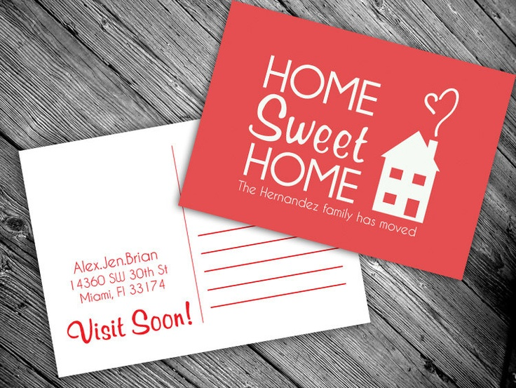 We have moved postcard: PRINTABLE (Home Sweet Home new address card). $15.00, via Etsy.