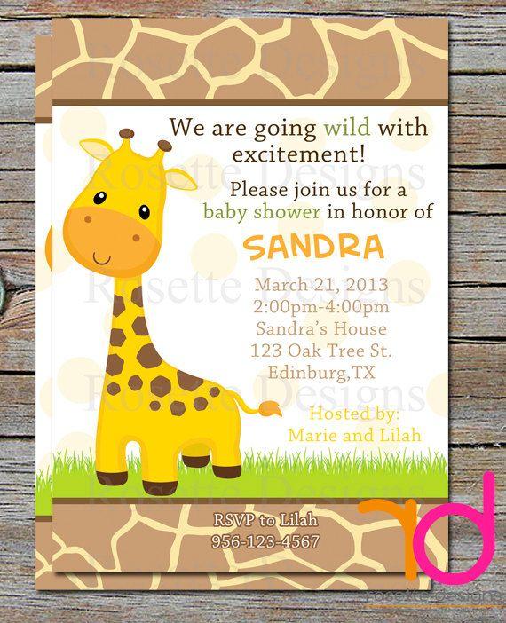 JUNGLE baby shower invitation  SAFARI invite  by RosetteDesigns, $8.00 - giraffe invitation