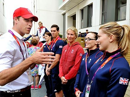 Prince William  Greets Team GB at Olympic Park