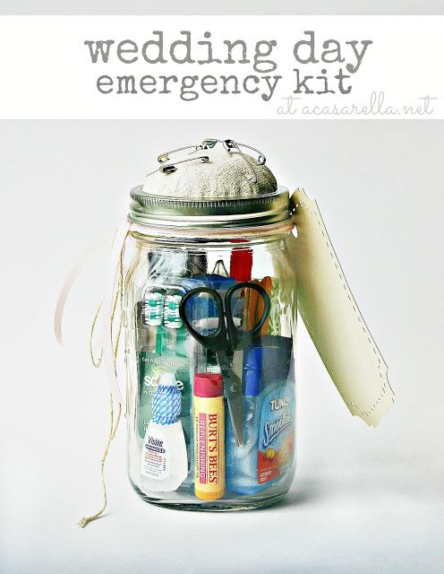 'A Casarella: Mason Jar Wedding Kit.  Great for those wedding day emergencies.  This would make an excellent bridal shower gift!