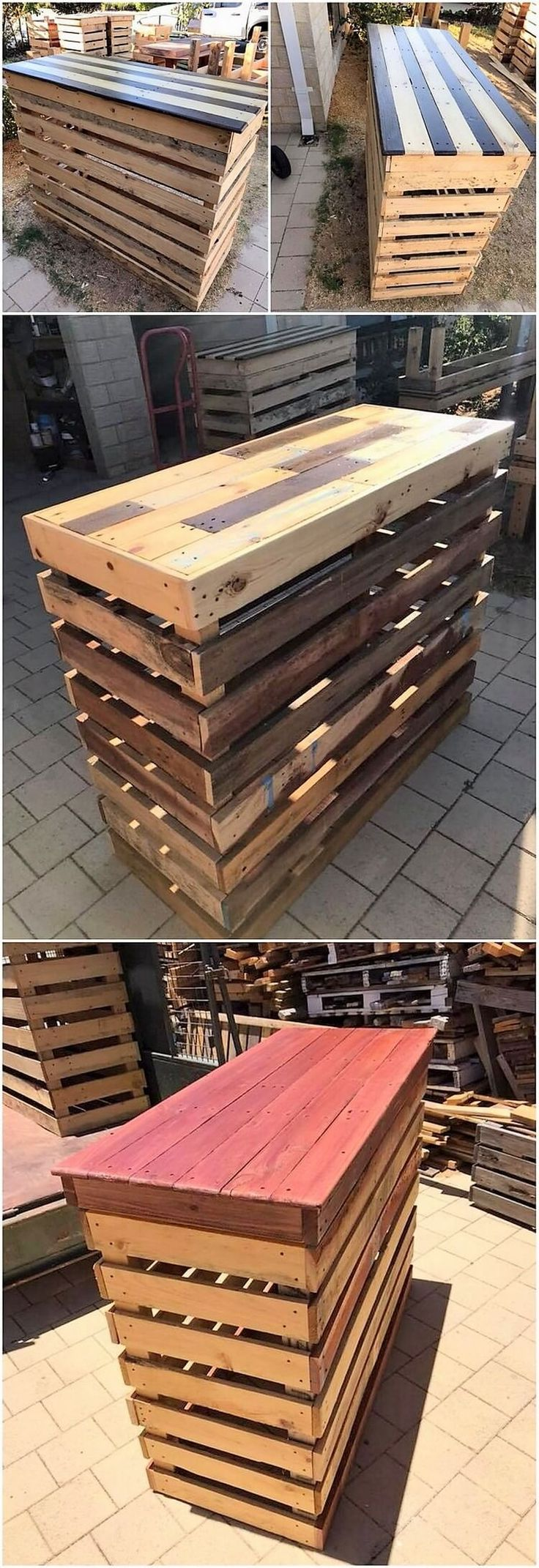 Having a suitable and yet simple creation of wood pallet do comes out to be one of the most cheapest idea of the wood pallet creations. It is a simple planks of wood pallet counter table that is all set up with the neat clean effect of the designing work being part of it.