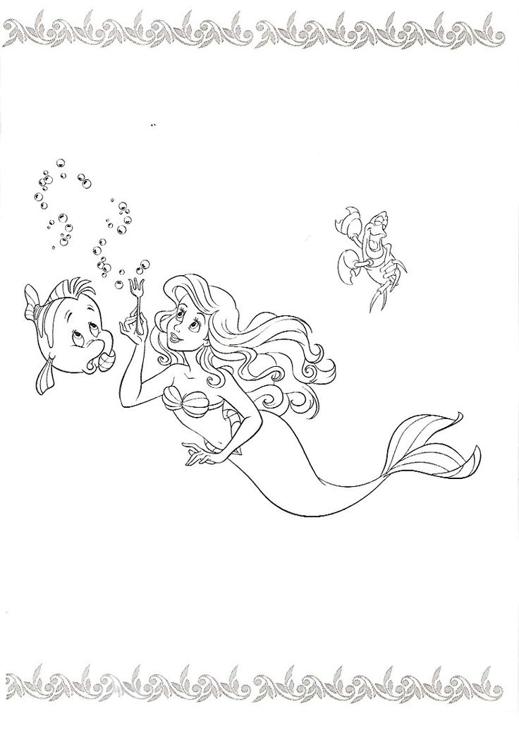 927 best Ariel images on Pinterest Disney princess, Ariel the - new little mermaid swimming coloring pages