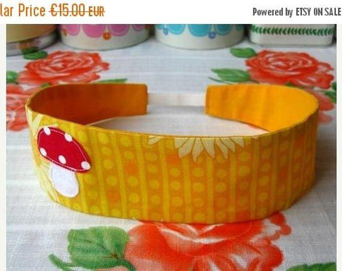 ON SALE Yellow Mushroom Hairband - Mushroom Headband - Reversible Yellow Hairband - Print Cotton Hairband - Fabric Headband - Fabric Hairban