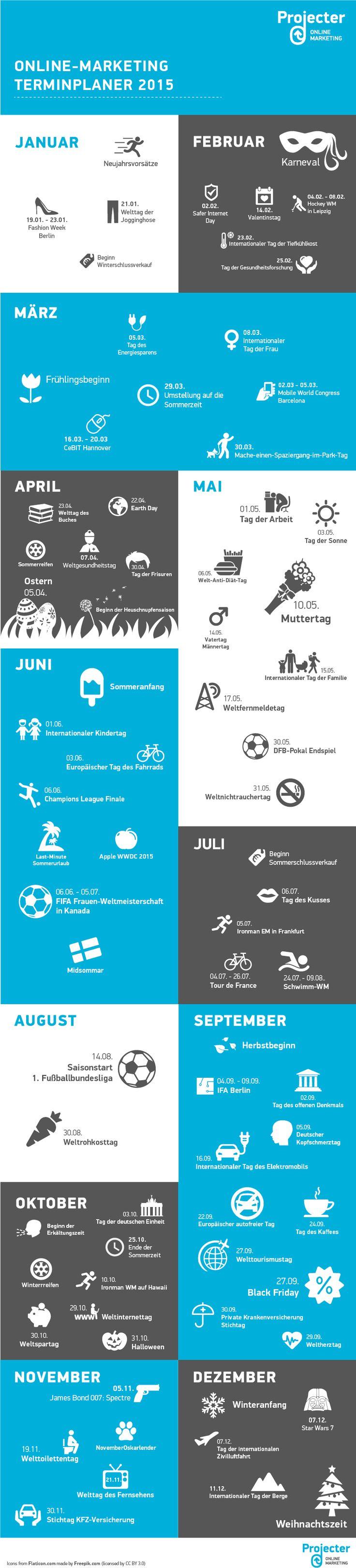 infografischer Terminkalender zur Planung von Aktivitäten im Online-Marketing, Content Marketing, Blogs, Online-PR