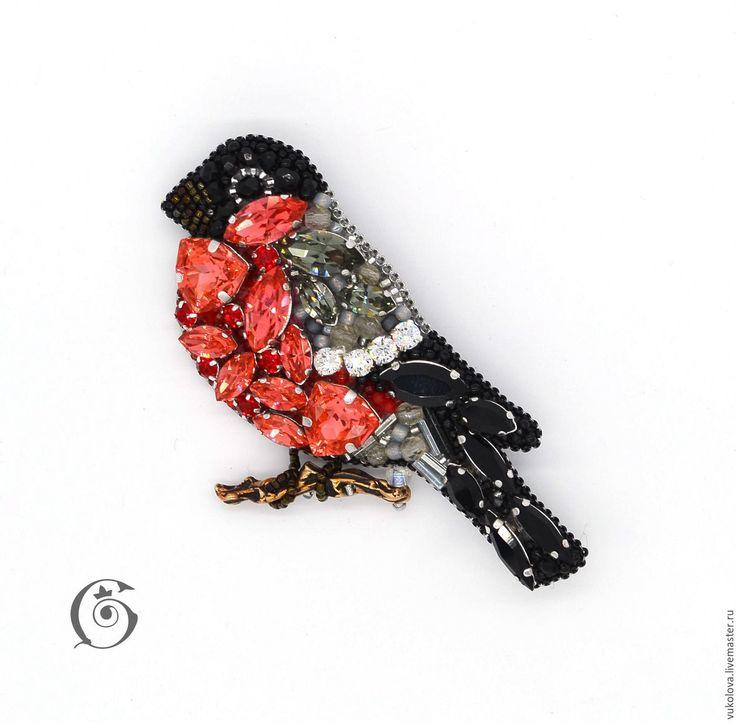 Купить Снегирь - ярко-красный, белый, черный, брошь, птица, зима, снегирь, кристаллы сваровски
