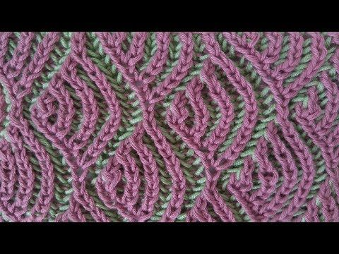 Fish scales, two-color brioche pattern + free embedded chart - YouTube