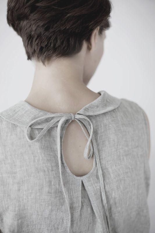 Grey dress with peter pan collar & keyhole back detail - diy sewing; fashion design detail  // Muku
