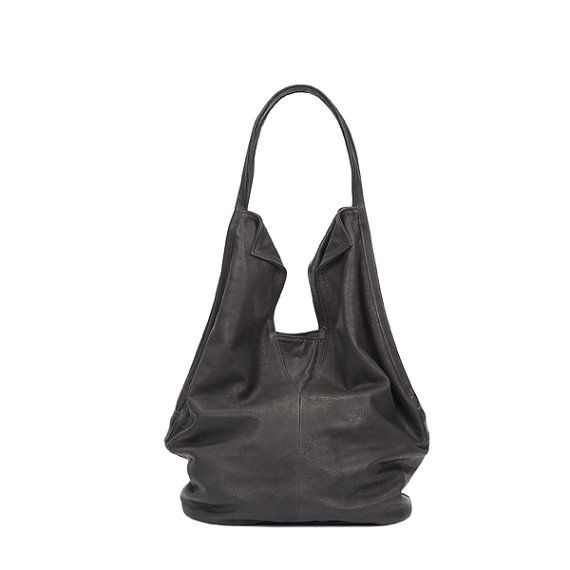 Black leather tote bag Soft leather bag Charley by LadyBirdesign