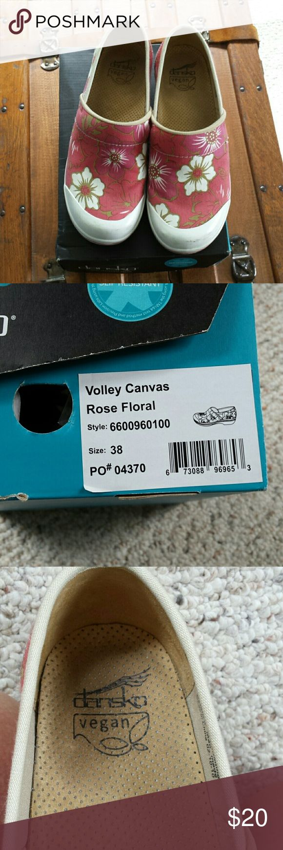 Vegan dansko clogs Volley canvas rose floral dansko shoes. Rubber soles, like keds sneakers! Scuffed. Can be cleaned by cobbler. Coral/rose/dull pink color. Fun to wear in any casual setting. Stained insole. dansko Shoes