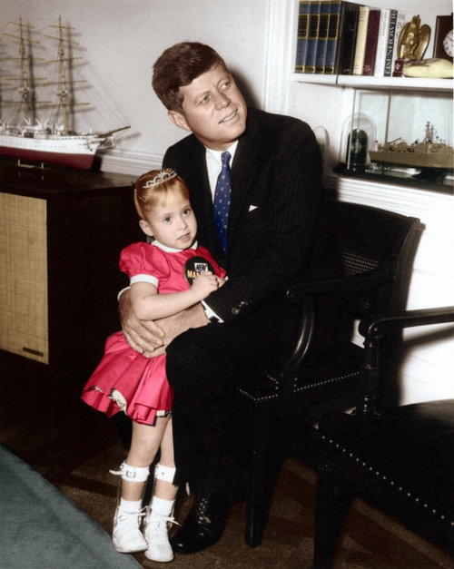 President John F. Kennedy meets the 1962 March of Dimes Poster Child Debbie Sue Brown. Oval Office, White House, Washington D.C. ~ Jan. 12th, 1962. this is my friend debbie! how exciting