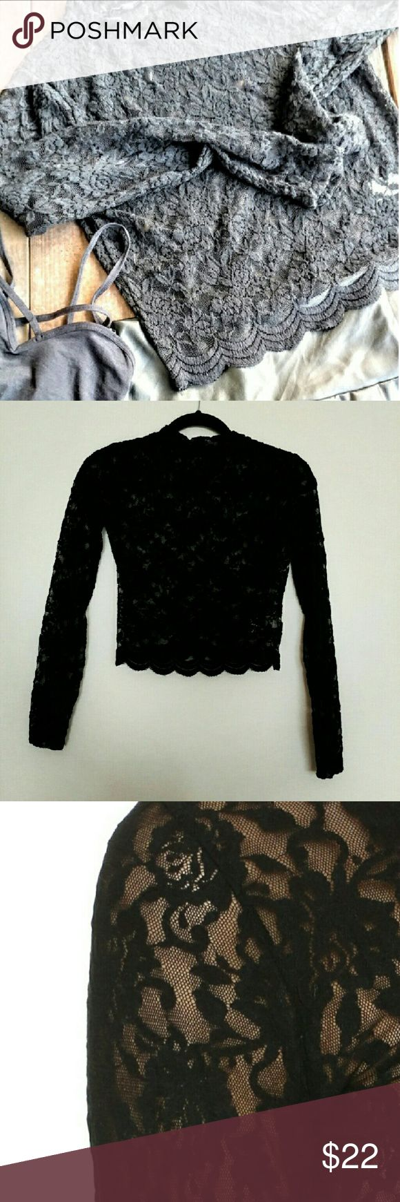 Black crop top by Alquimia Lace, great quality,  Nylons and spandex 22 inches long Alquimia Tops Crop Tops