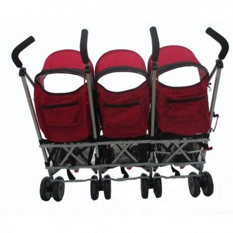 Poussette Triple Kidz Cargo Rouge - Le Shopping de Zoé