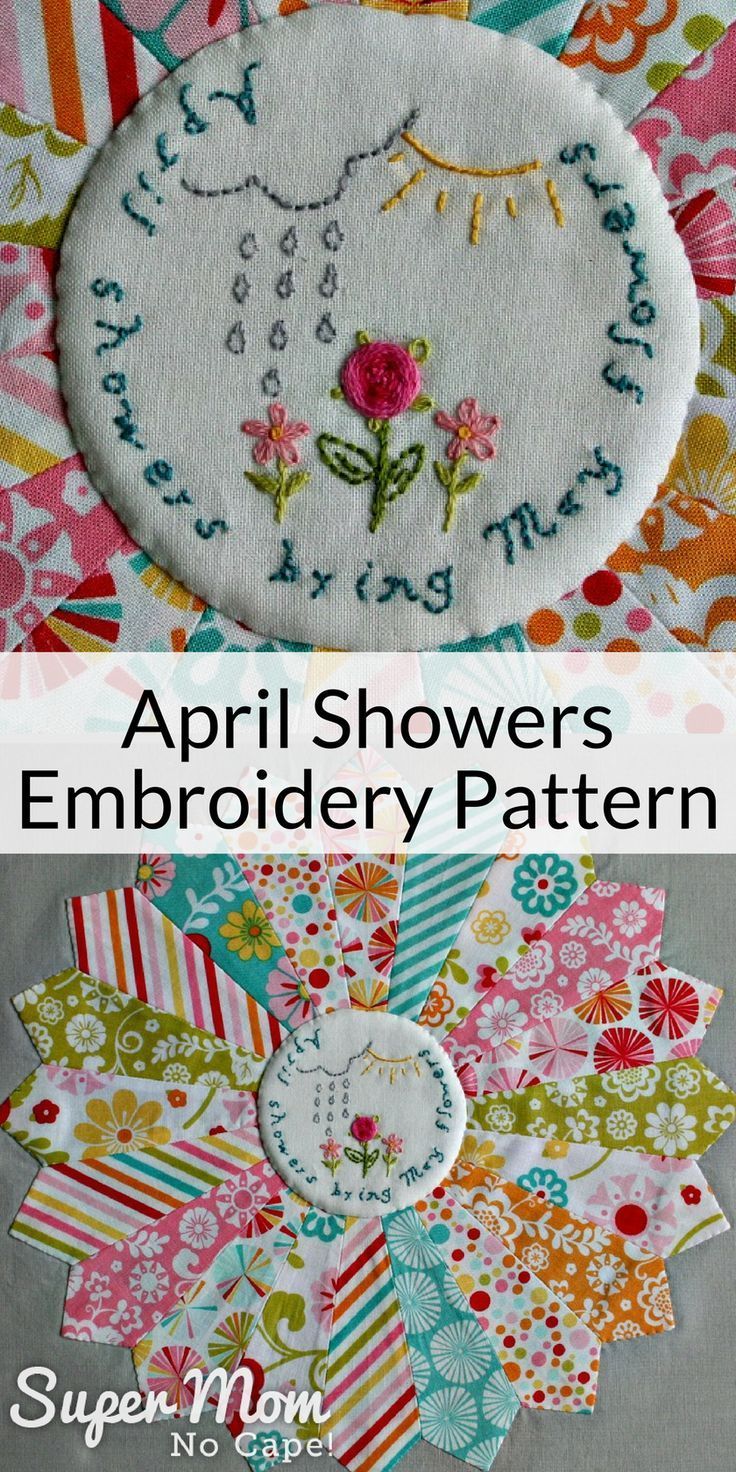 April Showers Embroidery Pattern Sewing Projects Embroidery