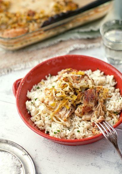 Poulet à la moutarde, herbes fraiches & riz à la ciboulette