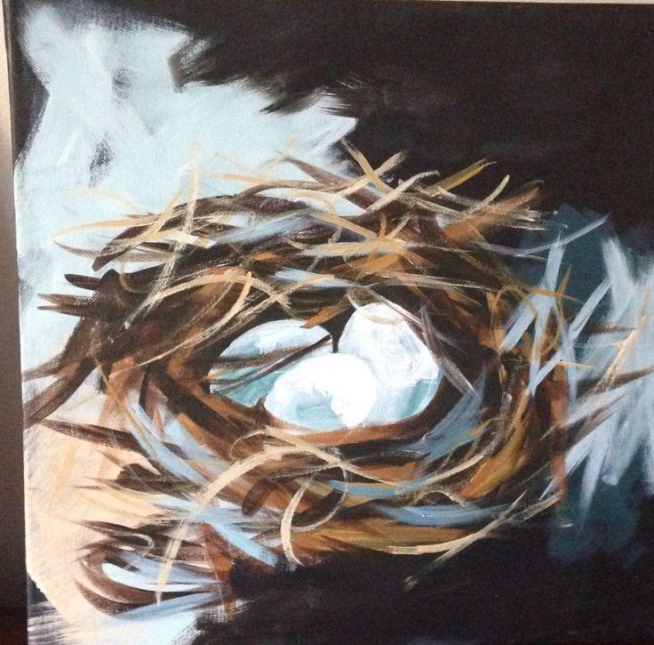 Birds nest- mixed media on canvas