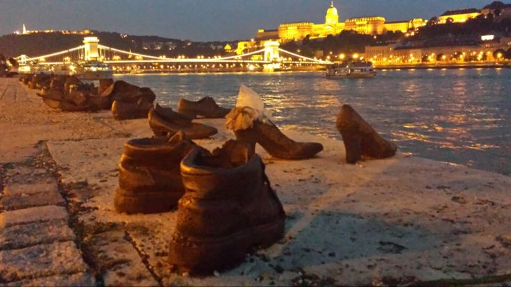 Located in Pest, between Roosevelt tér and Kossuth tér, the Shoes of the Danube memorial commemorates the victims of the Holocaust. 60 pairs of iron shoes form a row along the river in memory of the people shot into the Danube during World War II.