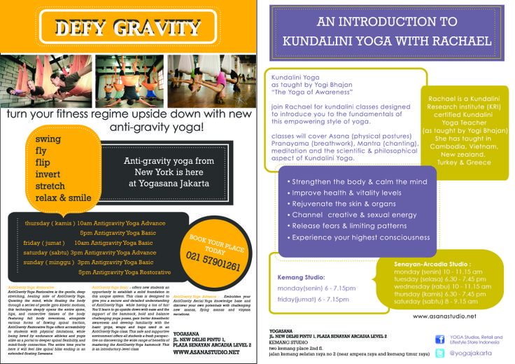 Certified Antigravity (Aerial)Yoga in Jakarta, Indonesia from Beginner to Advance.  Also Kundalini Yoga as taught by Yogi Bhajan.  Check our our website www.asanastudio.net
