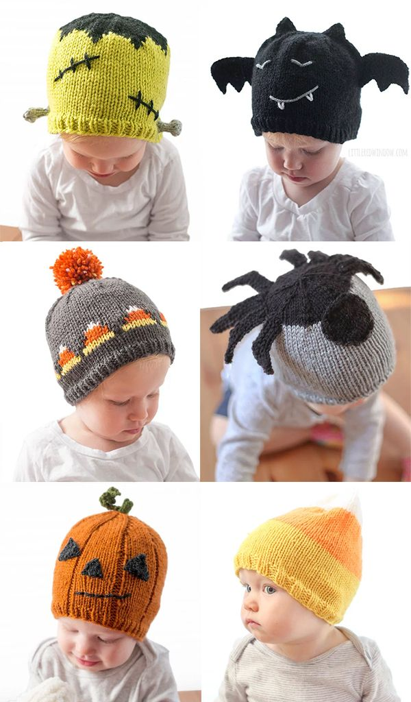 Knitting Patterns For Halloween Baby Hats Adorable Baby Hats With Halloween Themes Such As Baby Hats Knitting Halloween Knitting Patterns Halloween Knitting
