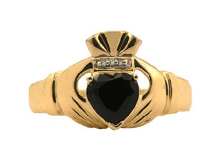 Yellow Gold Men's Black Onyx and Diamond Claddagh Ring Gemologica.com offers a large selection of Irish Claddagh Symbol Rings in Sterling Silver, 10K, 14K and 18K yellow, rose and white gold with birthstones and gemstones and wedding and engagement rings for men and women. Women's claddagh rings at www.gemologica.com/claddagh-rings-c-27_307.html Men's claddagh rings at www.gemologica.com/mens-claddagh-rings-c-28_46_17
