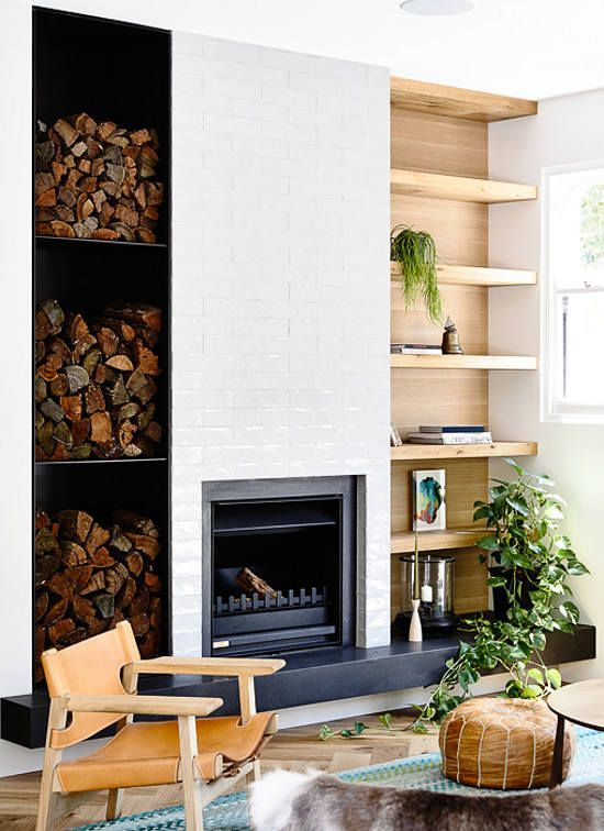 log storage, leather and wood chair