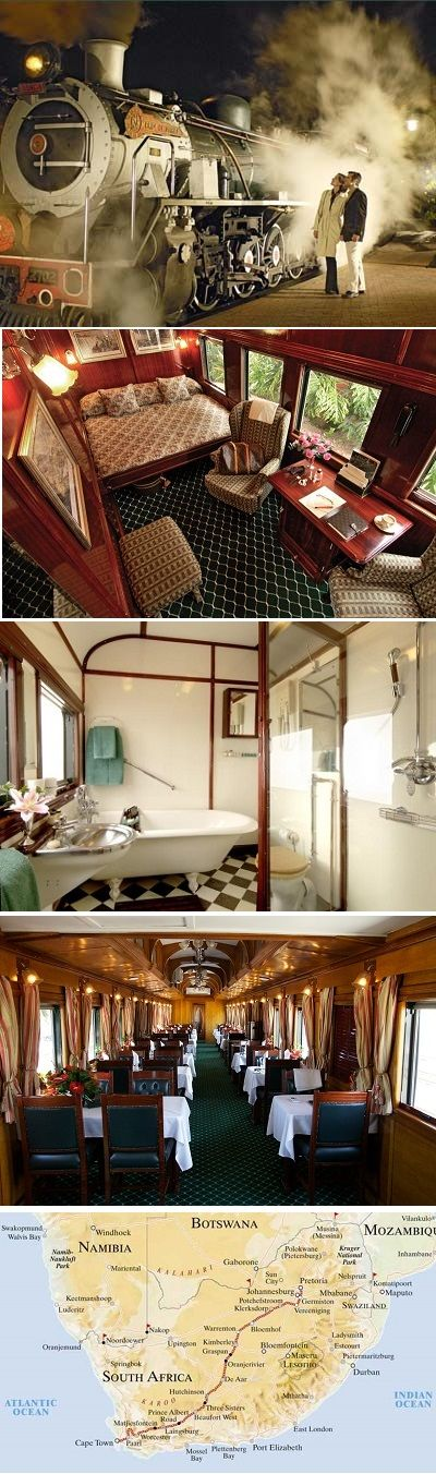 The Pride of Africa is a luxury train which is run by Rovos Rail. It is billed as the World's Most Luxurious Train. It travels through South Africa, Zimbabwe, Zambia and Tanzania.