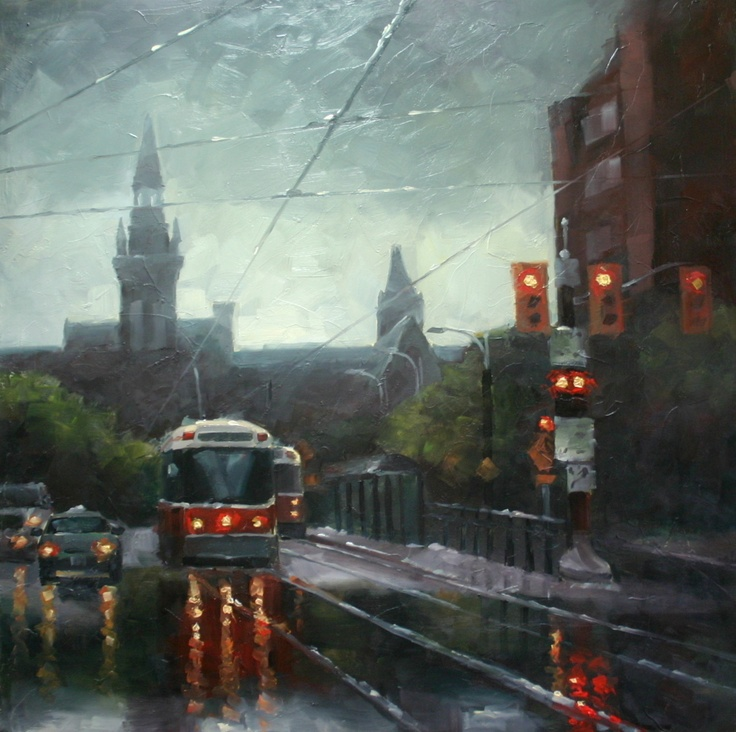 24x24 oil on board  Toronto Streetcars at Spadina Crescent with the University of Toronto in the background https://www.facebook.com/cjeffreystudio