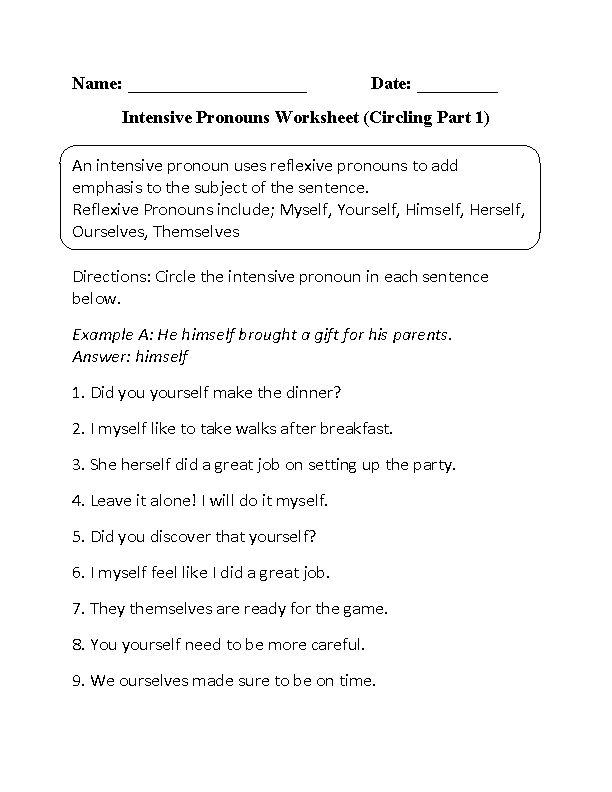 Intensive Pronouns Worksheet Circling Part 1 Beginner
